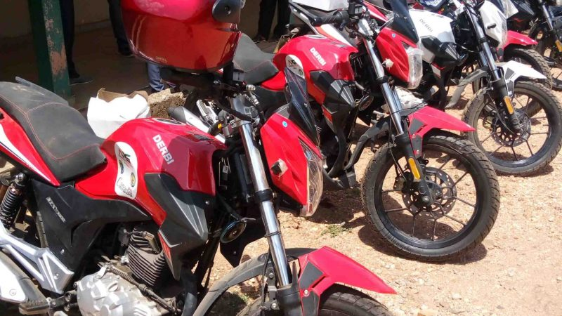 HON. MALLET HANDED OVER MOTORBIKES TO AGRICULTURE STAFF IN THE DISTRICT